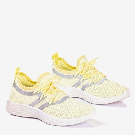 Women's yellow sports shoes with a glossy finish Epiphania - Footwear