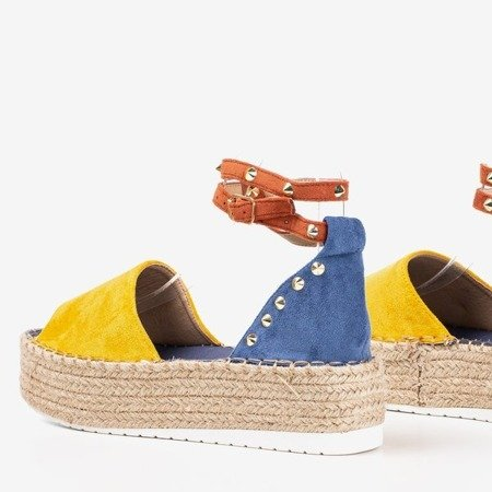 Yellow and blue women's sandals a'la espadrilles Irimida - Footwear