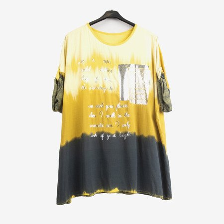 Yellow women's tunic with silver lettering - Blouse 1