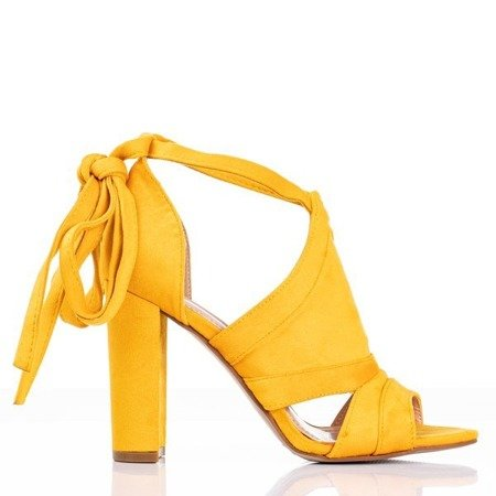 Yellow women's sandals on a high post with Lanaline shank - Footwear