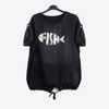 Black women's tunic with print - Blouses 1