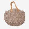 Dark brown round straw shoulder bag - Handbags 1