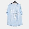 Light blue women's tunic with print and inscriptions - Blouses 1