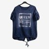 Navy women's tunic with inscriptions - Blouses 1