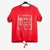 Red women's tunic with inscriptions - Blouses 1