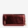Women's burgundy wallet with a shiny finish - Wallet