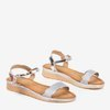 Women's silver sandals on a low wedge Lisia - Shoes